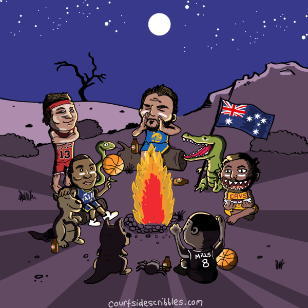 australian nba comics players bogut cartoons luc longley exum patty mills dellevedova sitting around fire with animals like crocodiles spiders and kangaroos