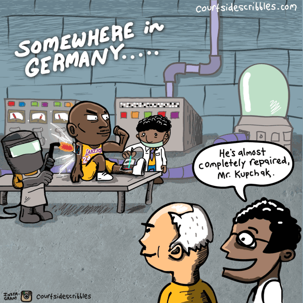 kobe cartoons lakers comics mitch kupchak repairs kobe in german lab