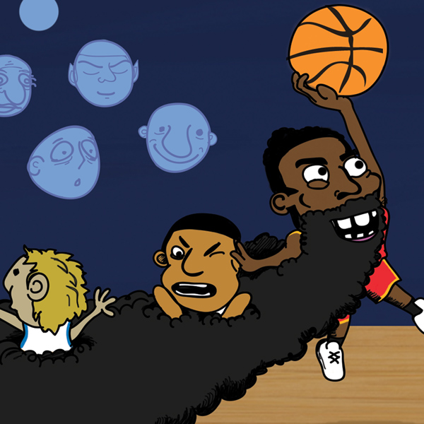 james harden cartoons players caught in giant beard dunking nba comics