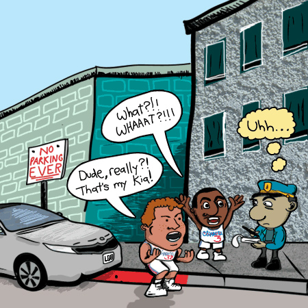 blake griffin chris paul cartoons argue parking ticket police officer kia nba comics