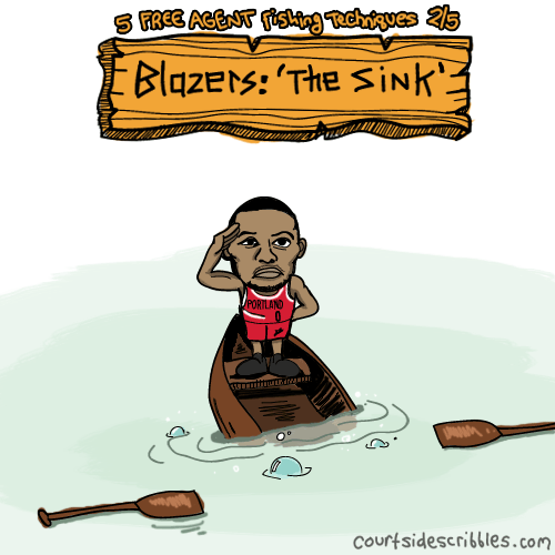 damian lillard cartoons blazers comics free agent fishing sinking into water down with the boat