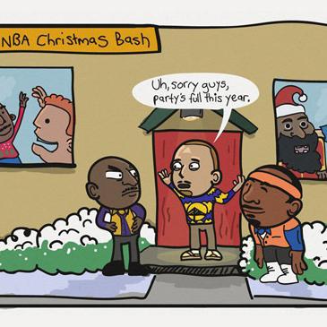 steph curry nba cartoons christmas party kobe comic and carmelo