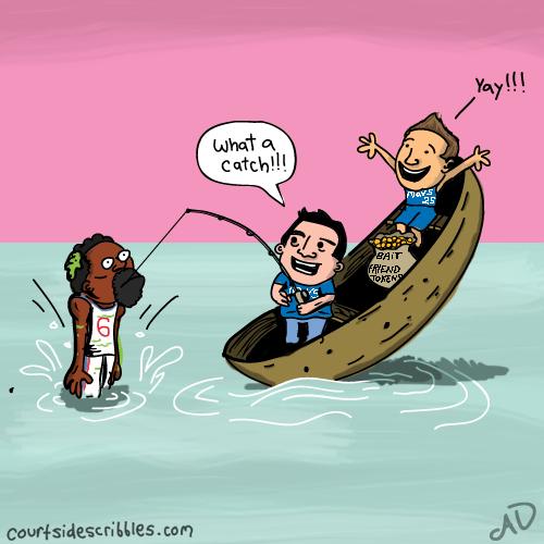 deandre jordan cartoons mark cuban mavericks fishing in boat friend tokens nba comics
