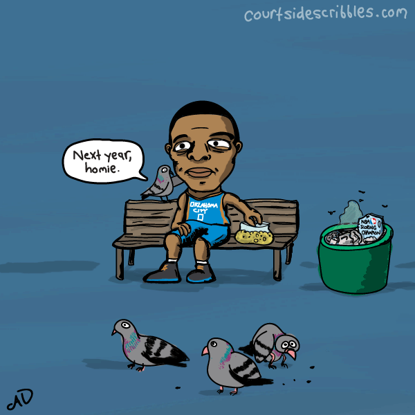 russell westbrook cartoons park bench feeding pigeons scoring title trash comic