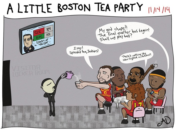 lebron cartoons cavs and celtics comics boston tea party locker room butler