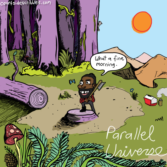 james harden cartoons lumberjack mountain parallel universe nba comic