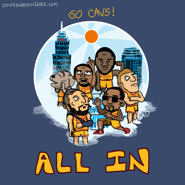 cavs cartoons lebron comic kyrie j.r. smith nba final four waterfall mozgov moondog
