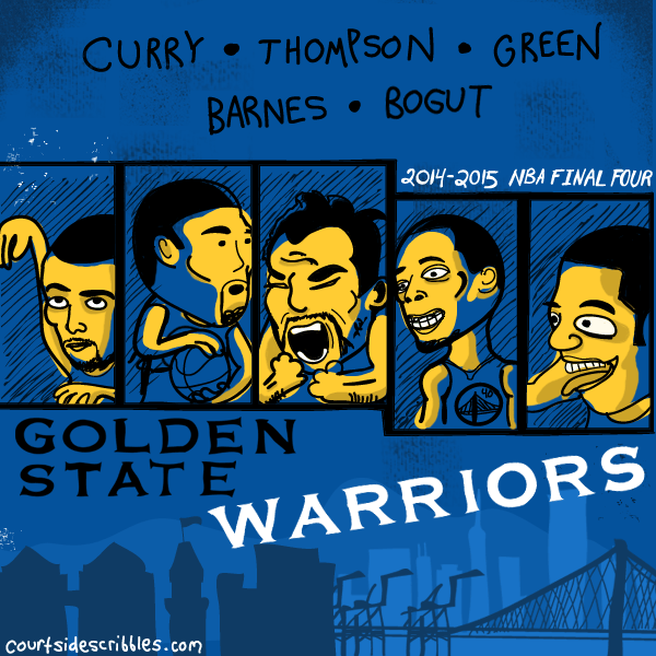 golden state warriors cartoons curry draymond klay thompson lineup nba comic
