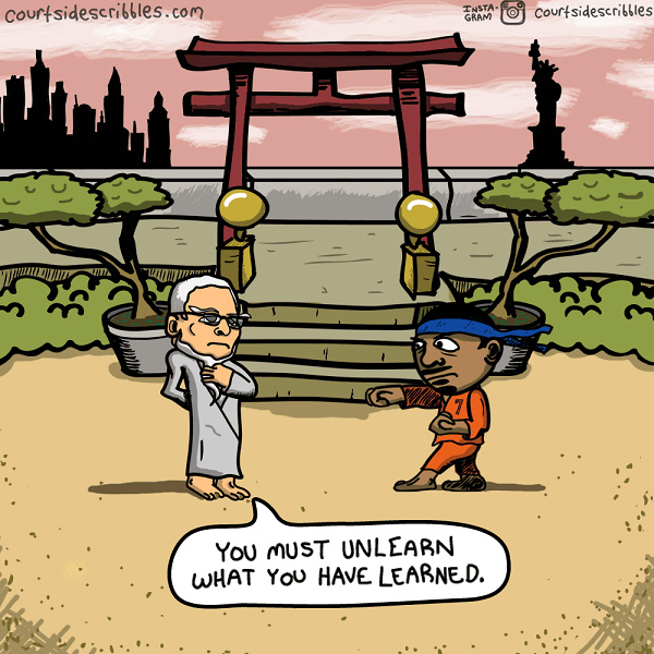 carmelo cartoons phil jackson trains karate kid you must unlearn yoda nba comics