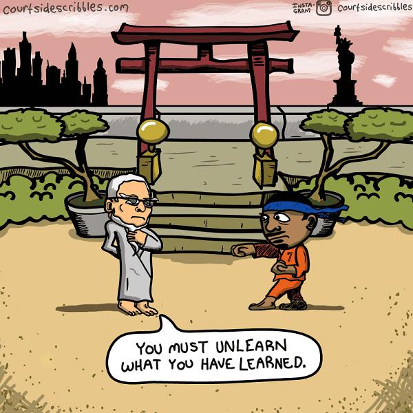 carmelo cartoons phil jackson trains karate kid you must unlearn yoda nba comics