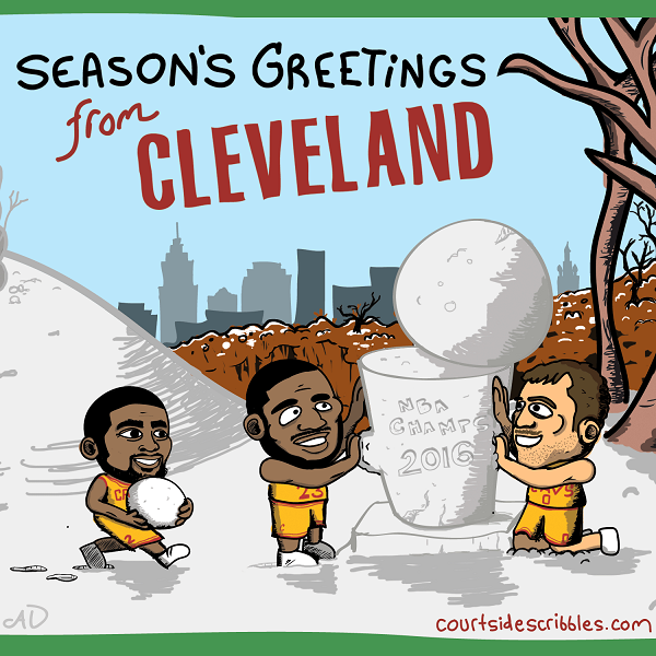 cavs christmas card lebron cartoons kyrie kevin love build snowman