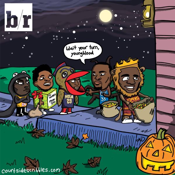 lebron cartoons halloween nba comic. durant anthony davis kobe and nick young go trick r treating around the neighborhood