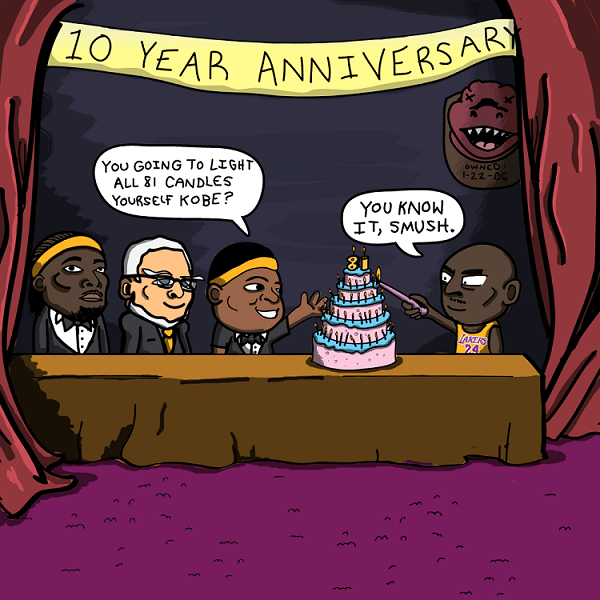 kobe cartoons bryant lights cake with 81 candles as phil jackson smush parker and kwame brown sit at table. a mounted raptor head is on the wall. nba comics.