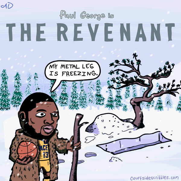 paul george cartoons pacers comics breaks leg returns as the revenant my metal leg is freezing winter grave