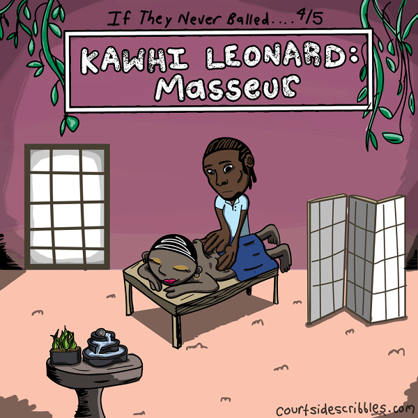 kawhi leonard cartoons massage woman big hands san antonio spurs comics