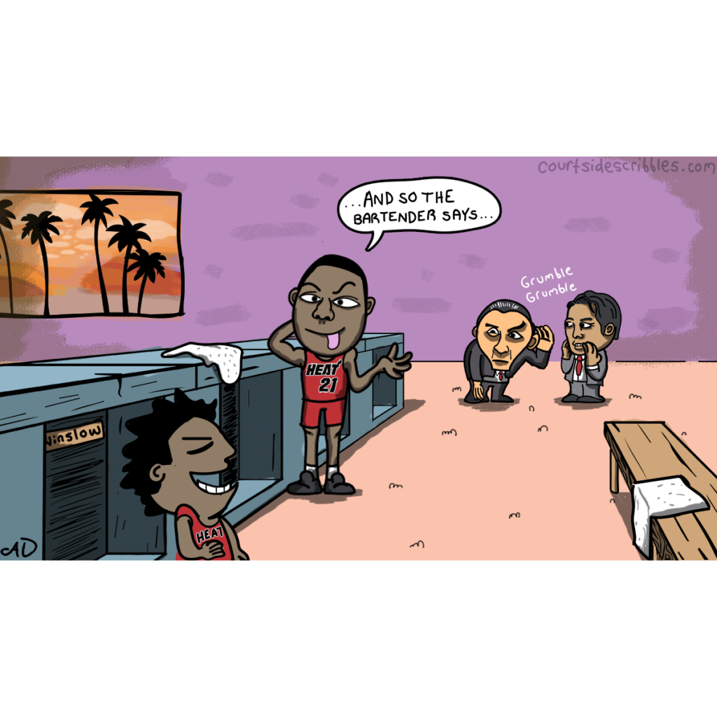 hassan whiteside cartoons miami heat comics pat riley in lockerroom with erik spoelstra as whiteside jokes with justise winslow