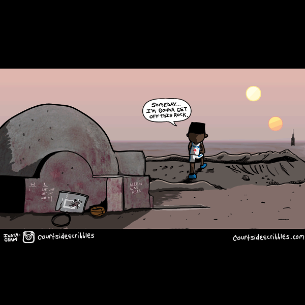 nerlens noel cartoon sixers comic standing in front of twin sunsets like luke skywalker in star wars on tatooine nba comics