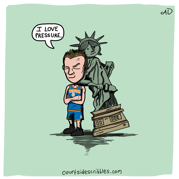porzingis cartoons knicks comics statue of liberty leaning on kristaps