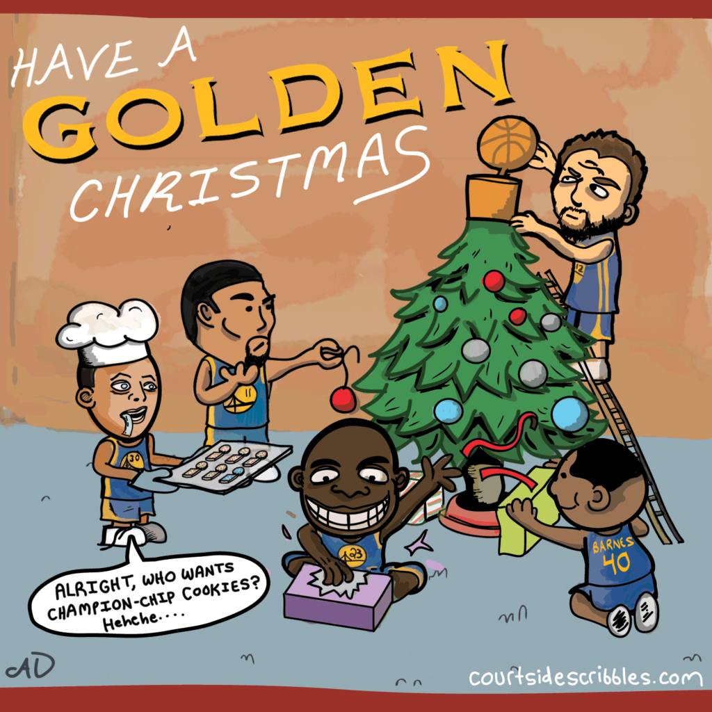 warriors christmas card steph curry comics klay draymond bogut put nba title tree topper on christmas tree have a golden christmas